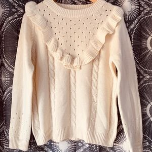 Cream Cable Knit Ruffle Sweater Size S